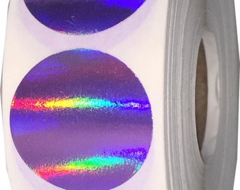 "500 Purple Holographic Envelope Seals - 1"" Inch Round Colored Adhesive Labels"