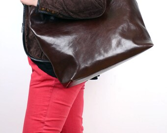 20% OFF SALE - Large Chocolate Brown Leather Tote