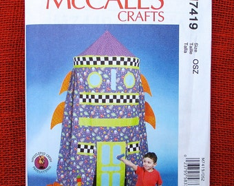 McCall's Craft Pattern M7419 Rocket Play Tent, Indoor Playhouse, Rainy Day, Retro Spaceship Astronaut Hideaway Toy, DIY Birthday Gift, UNCUT