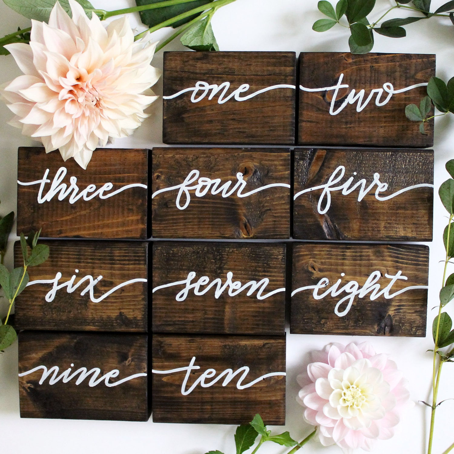 Calligraphy wood table numbers double sided hand painted
