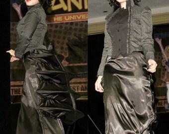 Black Satin Step Bustle Skirt  - Ready To Ship