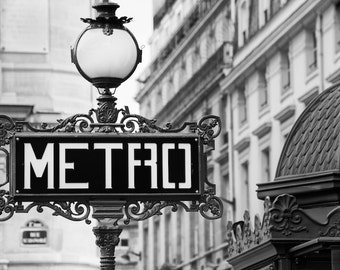 Paris black and white photography, Paris metro sign, French wall art, Paris decor, home decor, fine art print