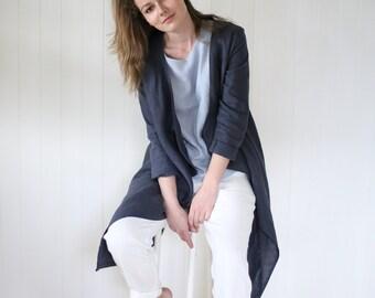 Washed Linen Cardigan / Women's Jacket / Stylish Linen Coat / Elegant Summer Cardigan / Handmade Soft Linen Top | Maternity Cardigan