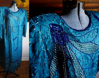 Medium - Vintage Roman's Beautiful Blue Beaded Dress