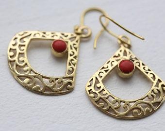 Tribal Earrings, Brass Earring, Red Coral Earring, Brass boho earrings, indian style, gypsy earrings, Coral Brass Earrings