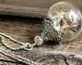 Dandelion Necklace, christmas gift, dandelion Jewelry. glass, blown globe, gift for mom, Gift, best friend gift, gift for woman, infinity