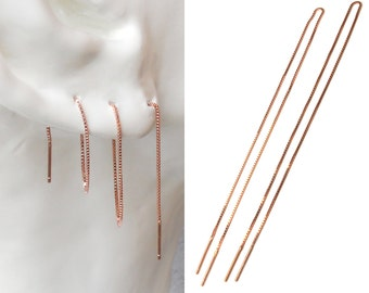 "Rose Gold Threader Earring Gold Ear Thread, Multiple Piercing Extra Long Earring 8"", 20cm Very Long Minimal Earrings Geometric Chain Earring"