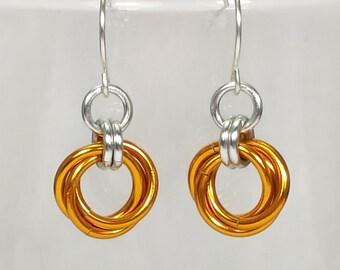 Mobius Chainmail Earrings - Orange