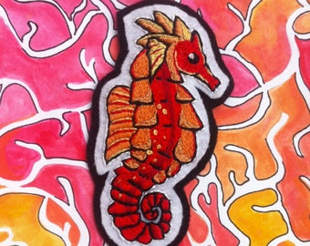 Red Seahorse Patch / Hand Embroidered / Felt Brooch / Sea Creature Pin