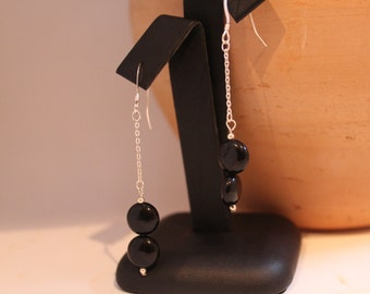 Black Onyx and Sterling Silver Earrings - Shipping Included