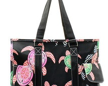 Black Turtle Print Medium Size Utility Tote Bag Black Trim