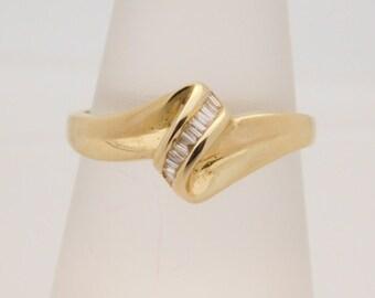 0.20 Carat T.W. Ladies Baguette Cut Diamond Cluster Ring 14K Yellow