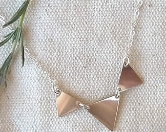 3 Triangle necklace / Sterling Silver / unique neckalce / tribal / boho / Edgy / Gift / Initial / Stamped