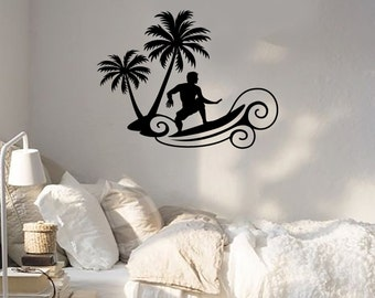 Vinyl Decal  Surfing Beach Relax Palms Surf Ocean Wave Wall Stickers (ig2029)