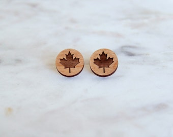 Wooden Maple Leaf Earrings - Stud Earrings - Lasercut - Wood Earrings - Maple Leaf.