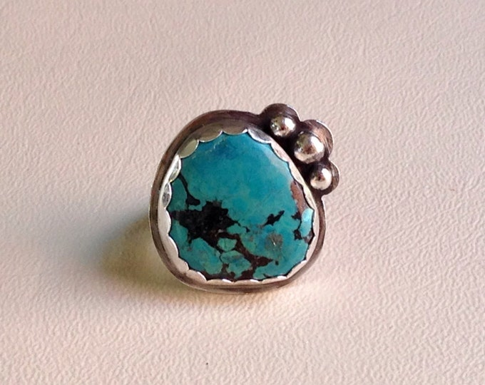Turquoise silver ring handmade silversmith size 8