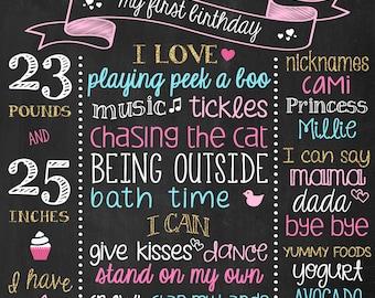 Birthday Chalkboard Props - Chalkboard Sign - Birthday Invitation - Personalized Chalk Board - Chalkboard Art - Birthday Decorations