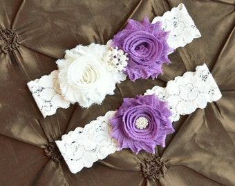 Wedding Garter, Bridal Garter, Ivory Lace Garter, PURPLE & IVORY Wedding Garter Set, Grape Garter Belt, Something Blue,