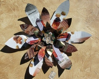 White and Brown Home Decor, Wall Hanging, Large Printed Metal Flowers, Recycled Art, Garden Art, Country Chic