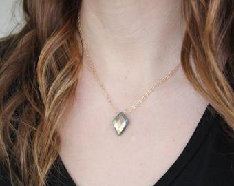 Labradorite Diamond Stone Pendant Necklace