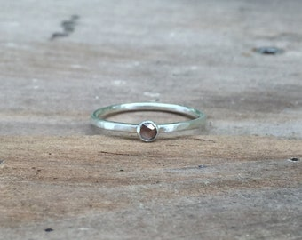 Red-Clear Diamond Ring, Red Diamond Sterling Silver or Gold Ring