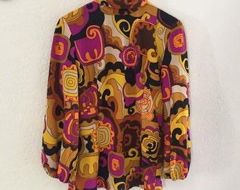 60's psychedelic mod mini dress with raw zigzag hem