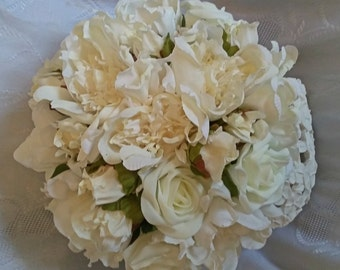 Artificial Ivory Rose Bridal Bouquet with vintage shabby chic feel