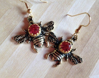 Honeybee Earrings, Bee Earrings, Earrings, Jewelry, For Her, Summer Jewelry