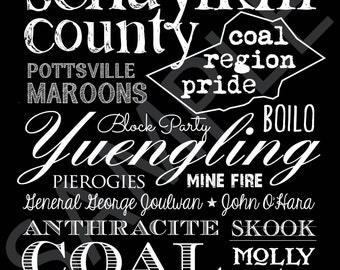 Coal Region Word Art 8x10 Print / Sign - Schuylkill County, Pennsylvania Subway Art