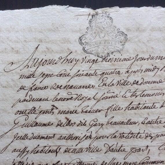 1764 Antique French Handwritten Manuscript Parchment Paper In