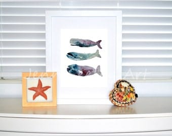 Watercolor whale stack of 3, whale stack, watercolor whale, ocean,