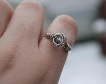 Titanium Quartz Ring/ Titanium Quartz Statement Ring/ Titanium Quartz Crystal/ Purple Titanium Aura Quartz/ Quartz Ring/ Aura Quartz Ring
