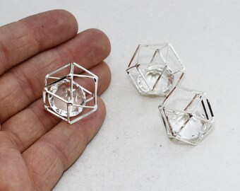 1 Pcs 20mm Silver Plated Cube Necklace, Cube Charms, Open Cube Beads, MTE164