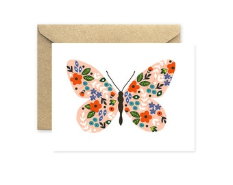 Butterfly Note Cards, Pink Butterfly Greeting Card, Blank Greeting Card with Flower Pattern