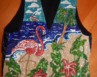 Sequined Pink Flamingo Hibiscus Vest Womens Sz Large Fashion Fantasy Beach