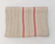Red Stripe French Country Natural Linen Tablecloth