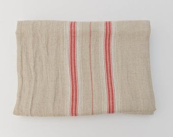 SALE 10% Off - Red Stripe French Country Natural Linen Tablecloth