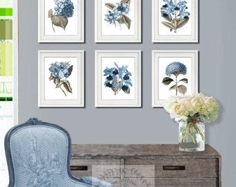 Farmhouse Decor Blue Flowers Botanical Print Spring decor, Botanical Set of 6 Art Print Blue Hydrangea French Country Decor