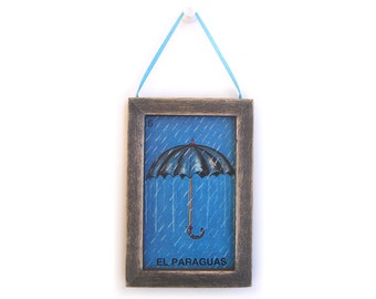 El Paraguas Picture, Umbrella Magnet, Loteria, Cubicle Decor, Housewarming Gift, Thank You Gift, Gift For Him, Gift For Her, Fridge Magnet