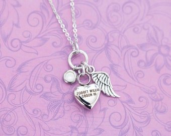 Birthstone Memorial Pendant with Angel Wing - Cremation Jewelry - Engraved Jewelry - Urn Necklace - Pet Memorial - Ash Necklace
