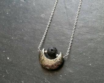 Pyrite Moon & Lava Essential Oil Necklace Diffuser --- Lava Rock Aromatherapy Jewelry