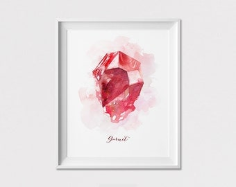 Garnet Print, January Birthstone, Wall Art, Poster, Watercolor Gemstone, Home Decor, Wall Art Gift, Wall Decor, ArtFilesVicky