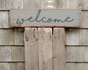 welcome sign on reclaimed barnwood hand-painted rustic barn wood READY 2 SHIP