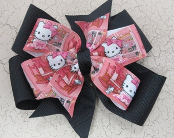 Hello Kitty Pink and Black Double Pinwheel Hair Bow, Girly Kitty Hair Bow, Cat Hair Bow