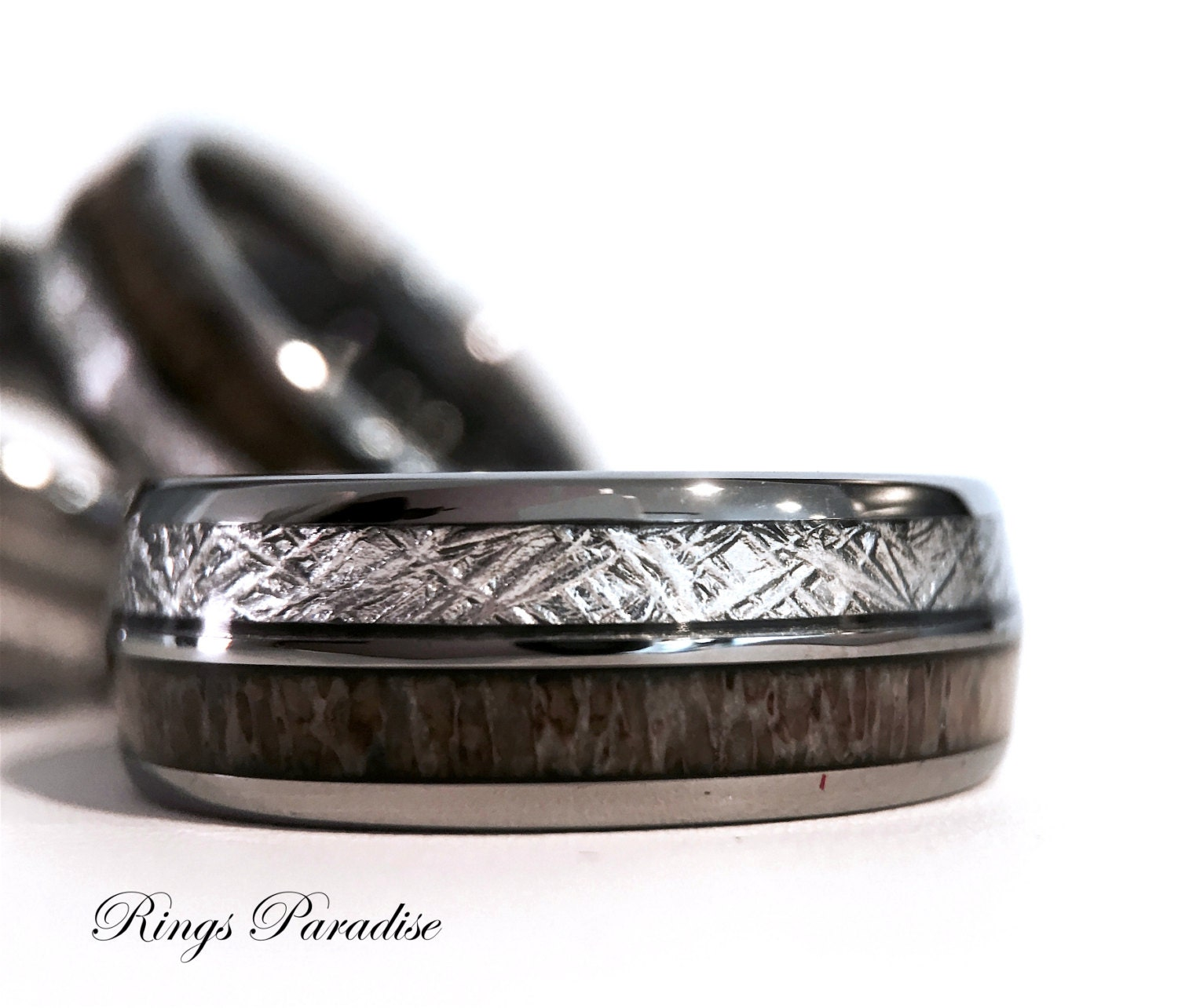 Tungsten Wedding Bands Real Antler Wedding Band Tungsten
