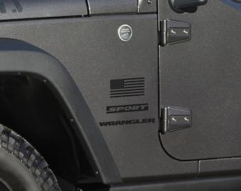 Full Fender Replacement - Set of Jeep Wrangler Sport American Flag Decals Matte Black