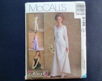 1998 Bridal Gown, Bridesmaid Formal Dress & Jacket Uncut Pattern, McCalls Alicyn 9188, Size 10, 12, 14