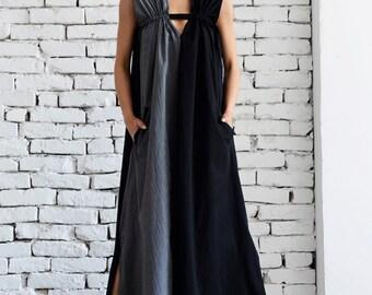 Grey and Black Maxi Dress/Loose Kaftan/Two Color Long Dress/Side Pocket Dress/Oversize Black Tunic/Grey Long Top/Plus Size Dress