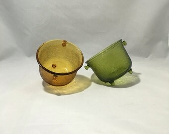 Tri-Footed Decorative Bowls | Set of Two | One Amber | One Avocado Green | Crackle Pattern | Cauldron Shaped