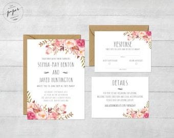 Floral Wedding Invitation Printable Suite Rustic Invite Boho Peonies
